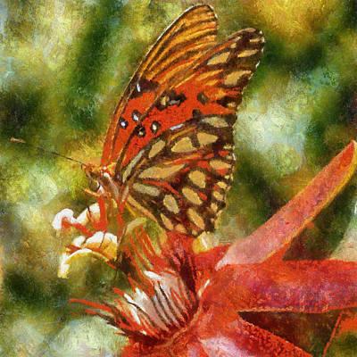 Digital Art - Red Butterfly by Charmaine Zoe