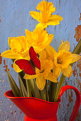 Red Butterfly On Daffodils Art Print