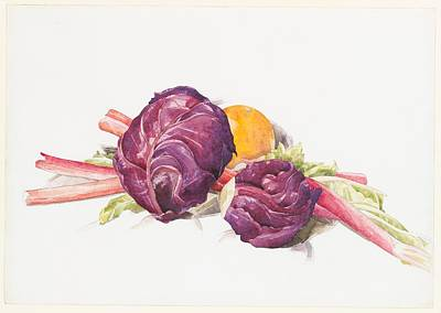 Red Cabbages, Rhubarb And Orange Art Print by Charles Demuth