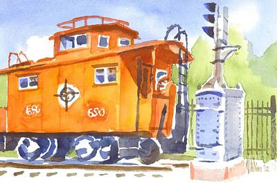 Red Caboose With Signal  Art Print by Kip DeVore