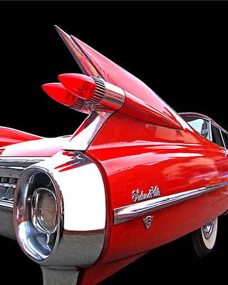 Red Cadillac Sedan De Ville 1959 Tail Fins Art Print