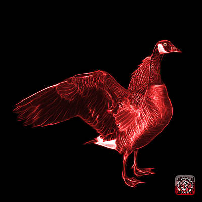 Mixed Media - Red Canada Goose Pop Art - 7585 - Bb  by James Ahn