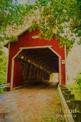 Covered Bridge Mixed Media - Red Canadian Bridge by Deborah Benoit