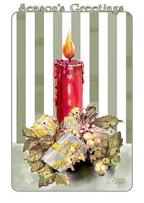 Digital Art - Red Candle by Arline Wagner