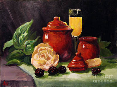 Painting - Red Candle Jars by Carol Hart