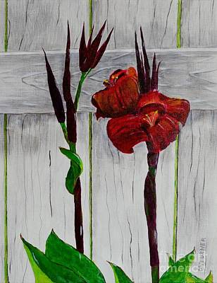 Art Print featuring the painting Red Canna Lily by Melvin Turner