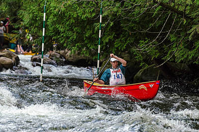Photograph - Red Canoe Below The Slalom Gate by Les Palenik
