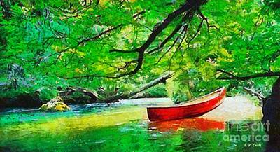 Red Canoe Art Print by Elizabeth Coats