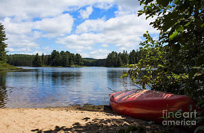 Photograph - Red Canoe Waiting by Barbara McMahon