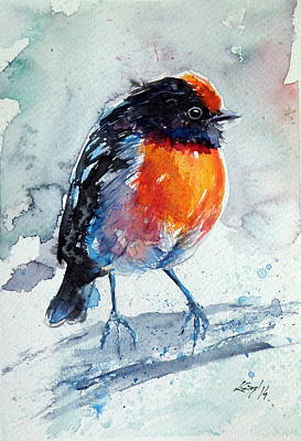 Red-capped Robin Original by Kovacs Anna Brigitta