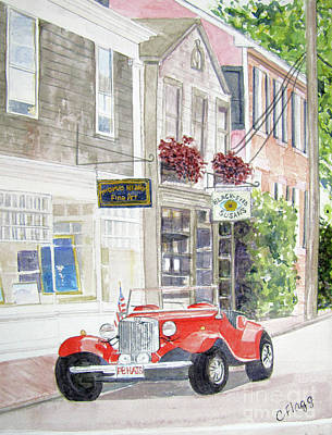 Flagg Painting - Red Car by Carol Flagg