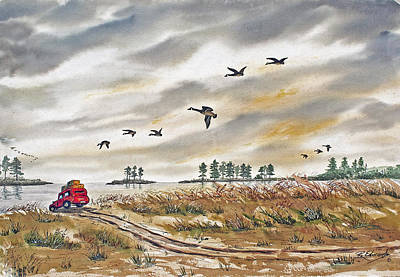 Canada Goose Painting - Red Car On Beach by Raymond Edmonds