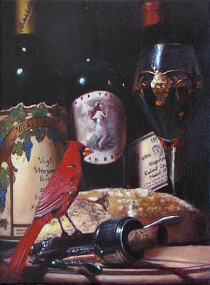 Red Cardinal Red Wine Sin Art Print by Takayuki Harada