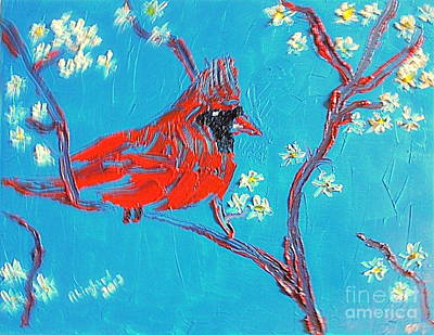 Painting - Red Cardinal Spring by Richard W Linford