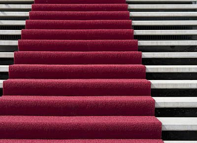 Red Carpet On Stairs Art Print by Hans Engbers