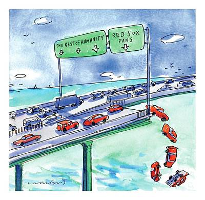 Highway Drawing - Red Cars Drop Off A Bridge Under A Sign That Says by Michael Crawford