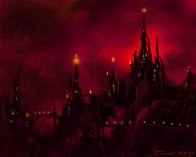 Sorcerer Painting - Red Castle by James Christopher Hill