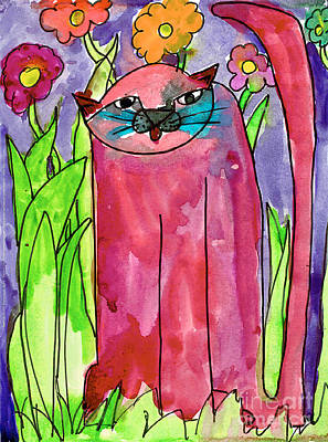 Painting - Red Cat by Bianca Saad Age Eight