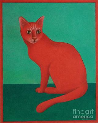 Red Cat Art Print by Pamela Clements