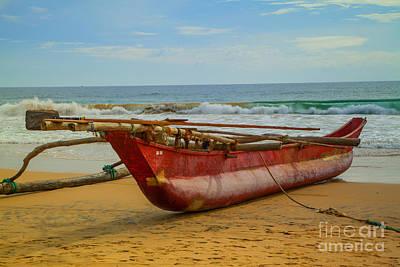 Red Catamaran At The Hikkaduwa Beach Art Print by Regina Koch