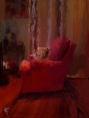 Mixed Media - Red Chair In Profile by Russell Pierce