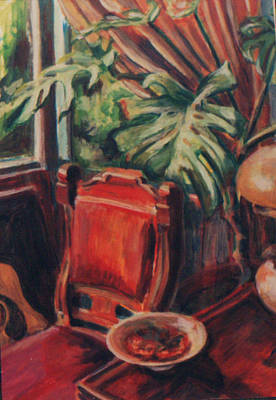 Painting - Red Chair In The Window by Ellen Howell