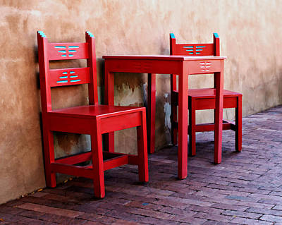 Folk Art Photograph - Red Chairs And Table by Nikolyn McDonald