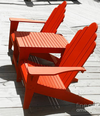 Catch Of The Day - Red Chairs by Raymond Earley