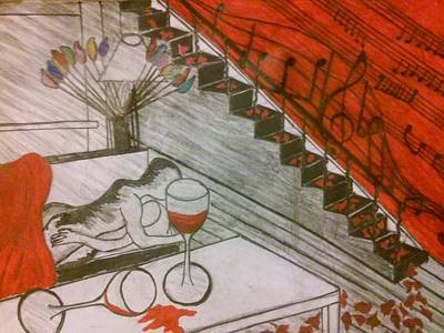 Red Champagne  Art Print