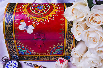 Treasure Box Photograph - Red Chest And Butterfly by Garry Gay
