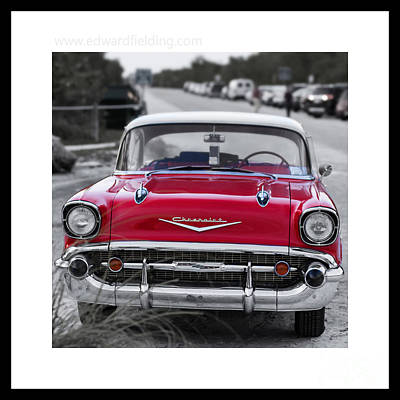 Red Chevy Bel Aire Original Signed Mini Original by Edward Fielding