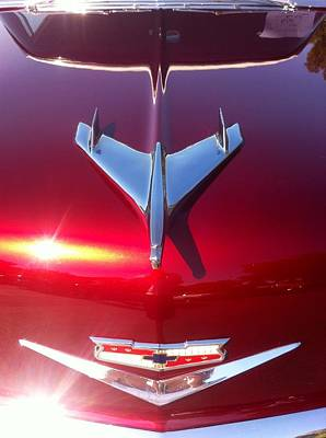 Photograph - Red Chevy Car Hood  by Susan Garren