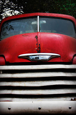 Photograph - Red Chevy Grill by Kelly Hazel