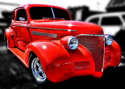 Red Chevy Hot Rod Art Print by Victor Montgomery