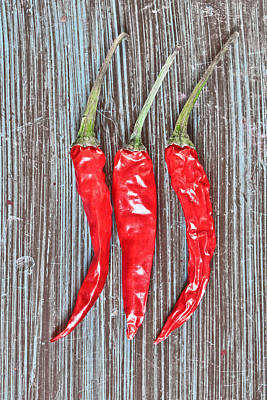 Clipping Photograph - Red Chilis by Tom Gowanlock
