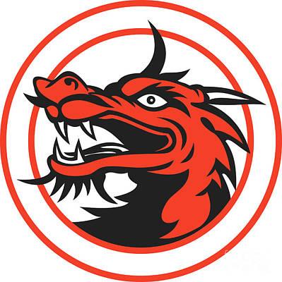 Mythical Creatures Digital Art - Red Chinese Dragon Head Circle by Aloysius Patrimonio