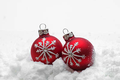 Christmas Holiday Scenery Photograph - Red Christmas Balls In Snow by Michal Bednarek