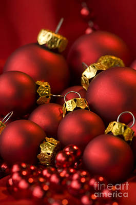 Red Christmas Baubles Art Print