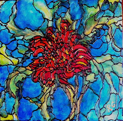 Painting - Red Chrysanthemum by Rae Chichilnitsky