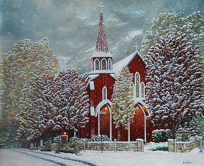 Sonora Painting - Red Church by Jerry   Graham