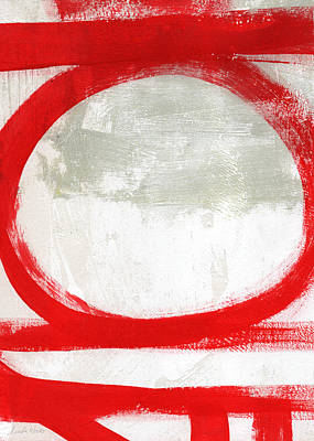 Intersection Painting - Red Circle 2- Abstract Painting by Linda Woods