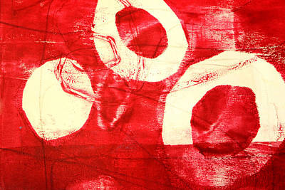 Cadmium Red Painting - Red Circles Abstract by Nancy Merkle
