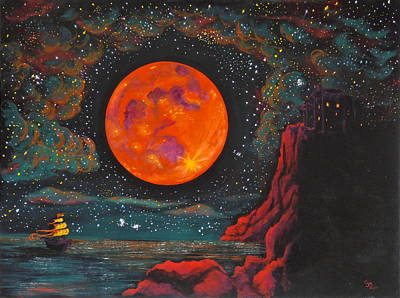 Pirate Ship Painting - Red Cliffs by Cynthia Ring