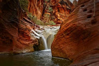 Red Cliffs Waterfall Art Print