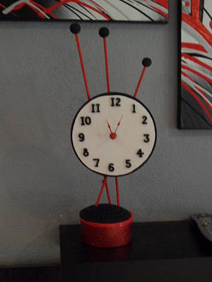 Red Clock Art Print