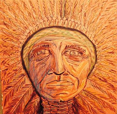 Indian Ink Mixed Media - Red Cloud by Edward Paul