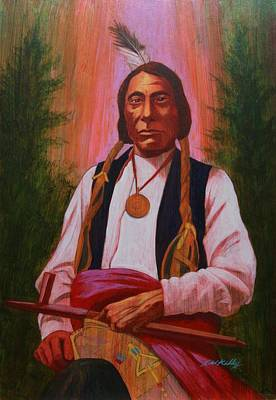 Painting - Red Cloud Oglala Lakota Chief by J W Kelly