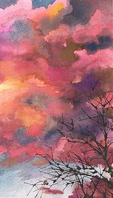 Red Clouds With Twig Tree Original