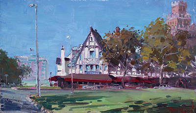 Coaching Painting - Red Coach Inn Niagara Falls Ny  by Ylli Haruni