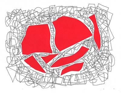 Eliso Digital Art - Red Collage With Doodle by Eliso Ignacio Silva Simancas